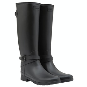 Hunter Ref Back Adjustable Tall Ankle Starp Ladies Wellies - Black