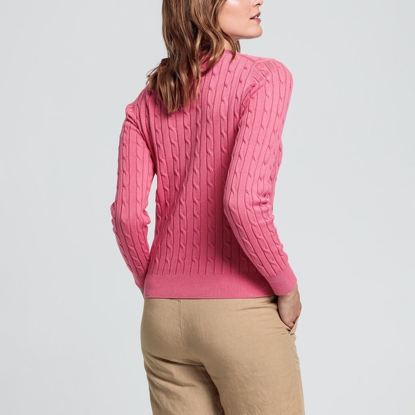 Gant Stretch Cotton Cable Crew Women's Knits