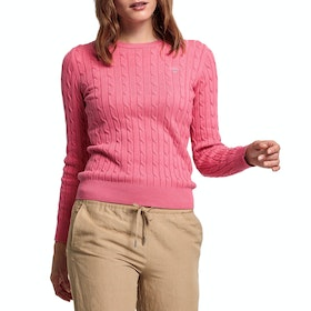 Gant Stretch Cotton Cable Crew Women's Knits - Rapture Rose