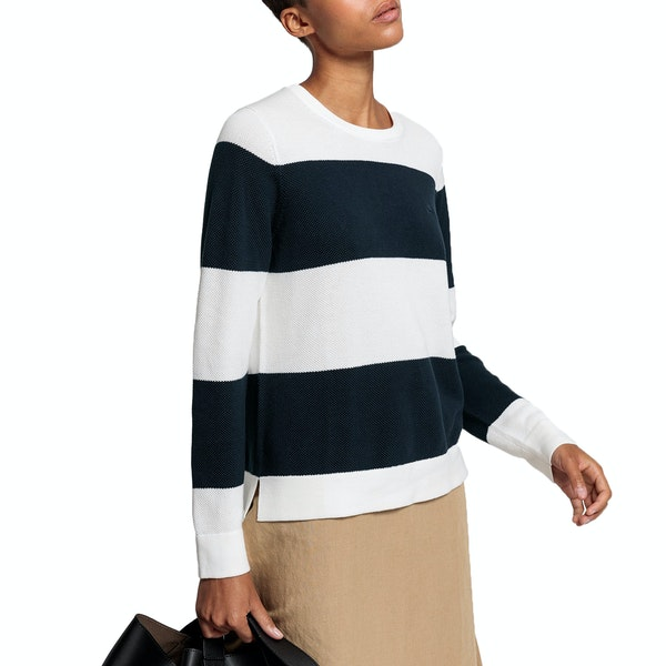 Gant Cotton Pique Block Stripe Women's Knits