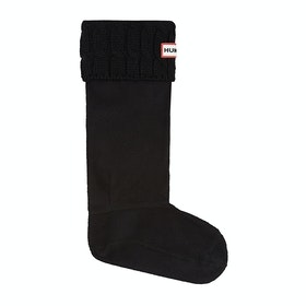 Hunter Stitch Cable Boot Wellingtons Socks - Black