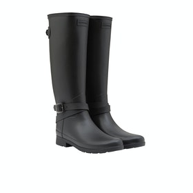 Hunter Ref Back Adjustable Tall Ankle Starp Womens Wellies - Black