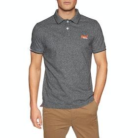 Superdry Orange Label Jersey Polo-Shirt - Volcanic Black Feeder