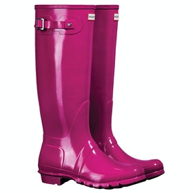 Hunter Original Tall Gloss Ladies Wellingtons - Red Algae