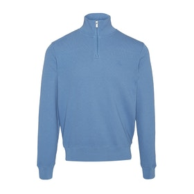Gant Honeycomb Half Sweater - Mid Blue
