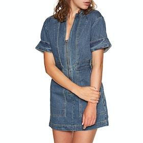 Free People Dream On Denim Mini Dress - Indigo Blue