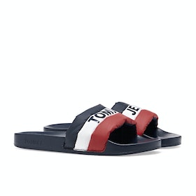 Tommy Hilfiger Padded Nylon Pool Sliders - Rwb