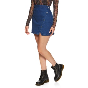 Free People Notched Denim Mini Skirt - Indigo Blue