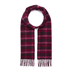 Country Attire Made In Scotland Cashmere Scarf - Burgundy Cerise Check
