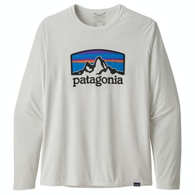 Patagonia Capilene Cool Daily Graphic Long Sleeve T-Shirt - Fitz Roy Horizons White