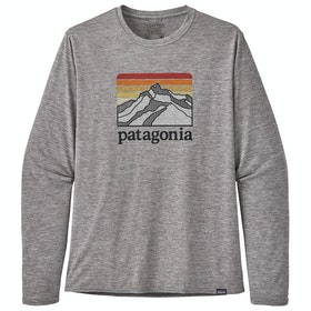 Patagonia Capilene Cool Daily Graphic Long Sleeve T-Shirt - Line Logo Ridge Feather Grey