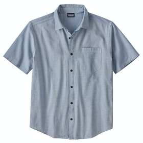 Patagonia Organic Cotton Slub Poplin Short Sleeve Shirt - End On End Superior Blue