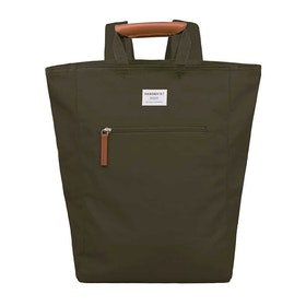 Sandqvist Tony Tote Backpack - Olive With Cognac Brown Leather
