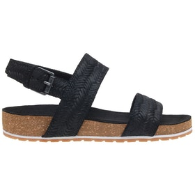 Timberland Malibu Waves 2 Band Ladies Sandals - Black Embossed Suede