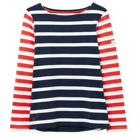 Joules Harbour Dames T-Shirt Lange Mouwen - Navy Cream Stripe