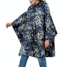 Joules Poncho Ladies Poncho - Navy Gold Floral