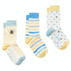 Joules Brill Bamboo 3 Pack Ladies Socks - Yellow Bees