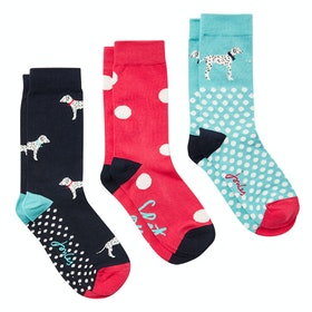 Joules Brill Bamboo 3 Pack Ladies Socks - Red Dalmatian
