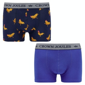 Joules Crown Joules 2pk Boxer Shorts - Blue Cockrel