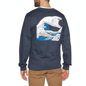 Sweat Rip N Dip Great Wave Crewneck - Navy