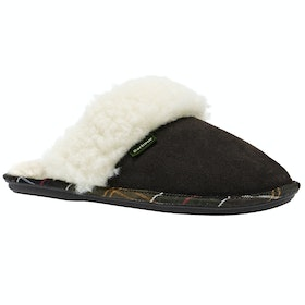 Barbour Lydia Mule Ladies Slippers - Brown Suede