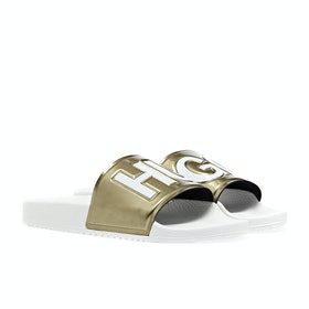 BOSS Timeout Logo Women's Sliders - Gold