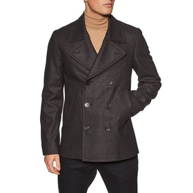 Paul Smith Check Wool-Blend Pea Coat Jacket - Inky