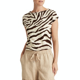 Lauren Ralph Lauren Grieta Sleeveless Dames T-Shirt Korte Mouwen - Dark Brown Multi
