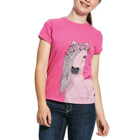 Ariat Festival Horse Girls Short Sleeve T-Shirt - Beet Pink Heather