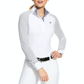 Ariat Marquis Damen Turnier-Shirt - White Navy Mesh Stripe