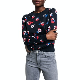 Gant All-Over Flower Crew Dame Sweater - Evening Blue