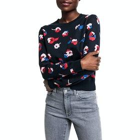 Gant All-Over Flower Crew Women's Sweater - Evening Blue