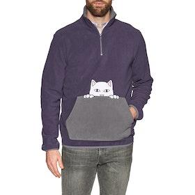 Polaire Rip N Dip Peeking Nerm Brushed Fleece Half Zip Sweater - Purple Grey