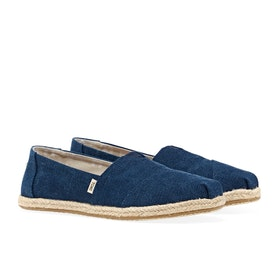 Toms Alpargata Washed Damen Espadrilles - Navy Washed Canvas Rope Sole
