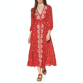Abito Free People Embroidered Fable - Red Combo