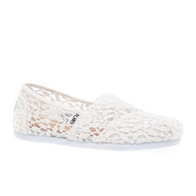Toms Alpargata Lace Womens Slip On Shoes - White