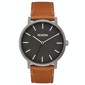 Nixon Porter Leather Herren Uhr - Gunmetal Charcoal Taupe