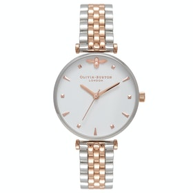 Olivia Burton Queen Bee Womens 腕時計 - Silver And Rose Gold