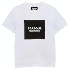 Barbour International Block Logo Boy's Short Sleeve T-Shirt - White
