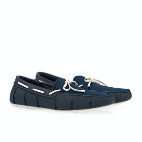 Dress Shoes Męskie Swims Braided Lace Loafer - Navy White