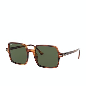Ray-Ban Square II Sunglasses - Stripped Havana~green
