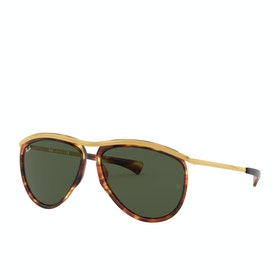 Ray-Ban Olympian Aviator Sunglasses - Stripped Havana~green