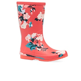Joules Junior Roll Up Girls Wellies - Red Floral