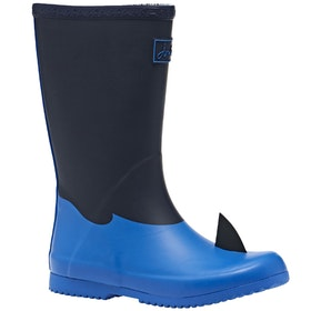 Joules Junior Roll Up Boys Wellingtons - Navy Shark