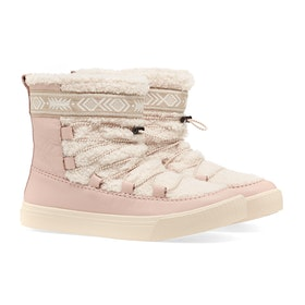 Toms Alpine Damen Stiefel - Dark Blush Leather Faux Shearling