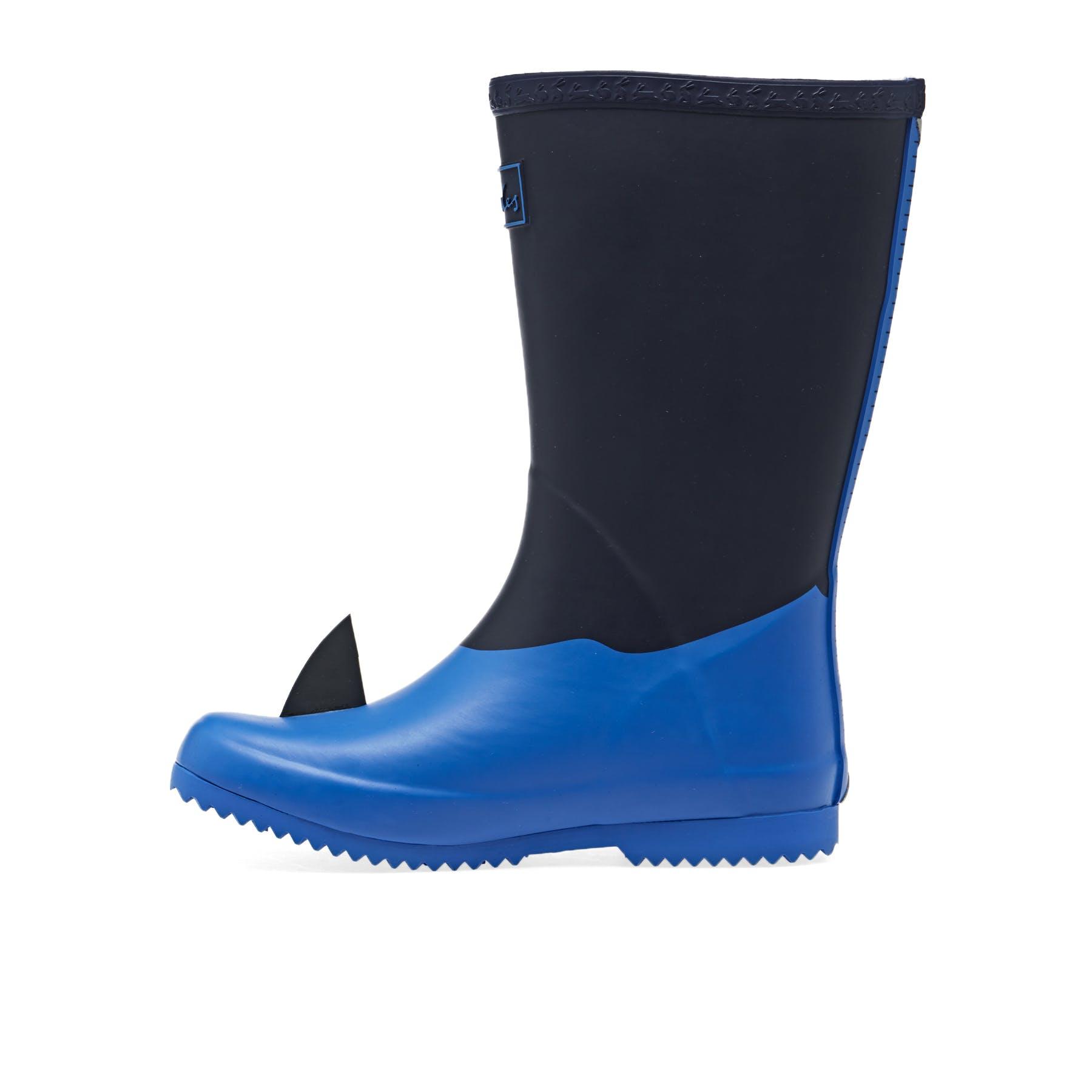 Joules Junior Roll Up Garçons Bottes Wellington-Bleu Marine Shark Toutes Les Tailles