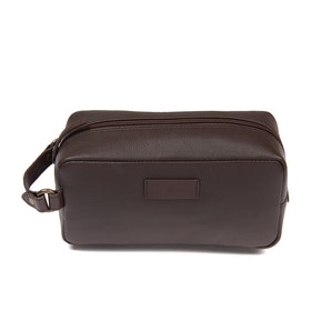 Barbour Compact Leather Men's Wash Bag - Brown