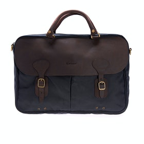 Barbour Wax Leather Briefcase - Navy