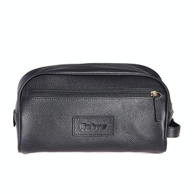 Barbour Leather Wash Bag - Black