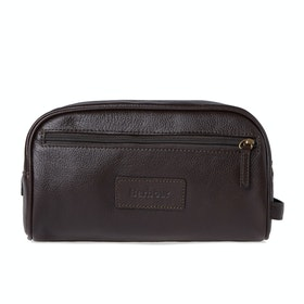Barbour Leather Wash Bag - Darker Brown